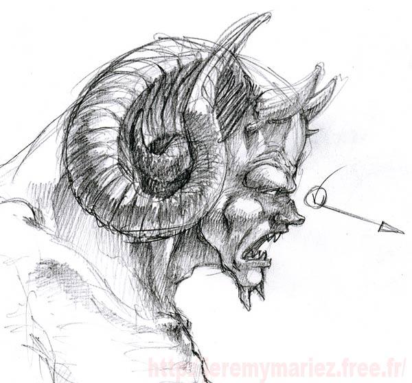 Comment faire un diable en bronze bronze etape 1 - Dessin de demon ...